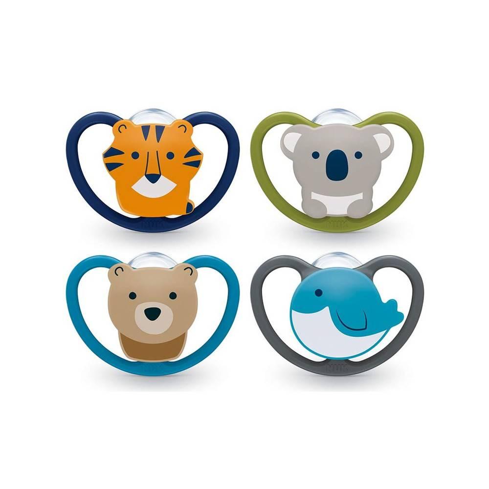 0-6 meses Gato y oso polar Chupetes con ventilaci/ón adicional NUK Space Baby Dummy 2 unidades Silicona sin BPA