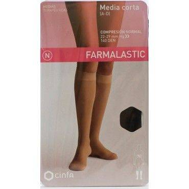 Farmalastic Media Corta Comprension Normal Negra Talla Grande