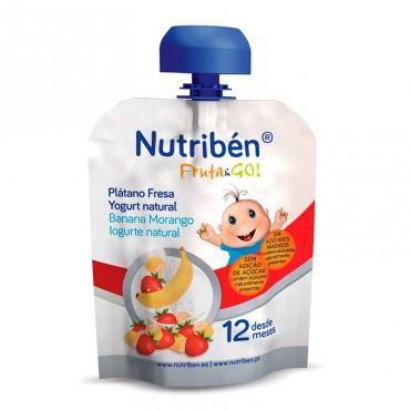 Nutriben Fruta-Go Platano, Fresa Y Yogurt Natural 90 Gramos