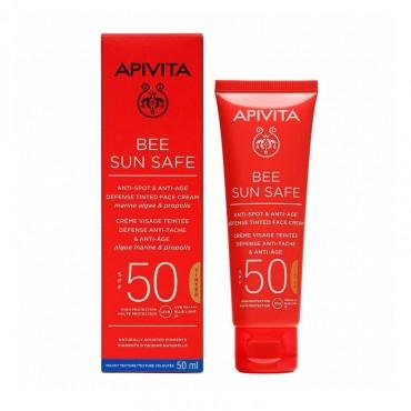 Apivita Bee Sun Safe Crema Anti Manchas & Anti Edad con Color SPF50 50 ml