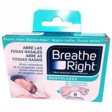 Breathe Right Tiras Nasales Mentoladas 8 Tiras Grandes