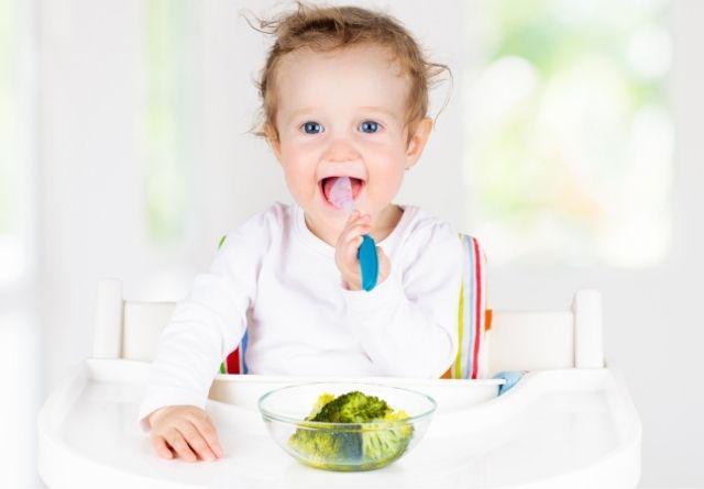 El método BLW para bebés recomienda que el niño esté sentado en su trono, erguido